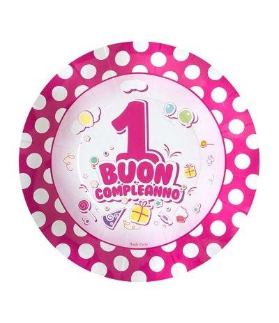 piattini primo compleanno rosa pois- 10 pezzi