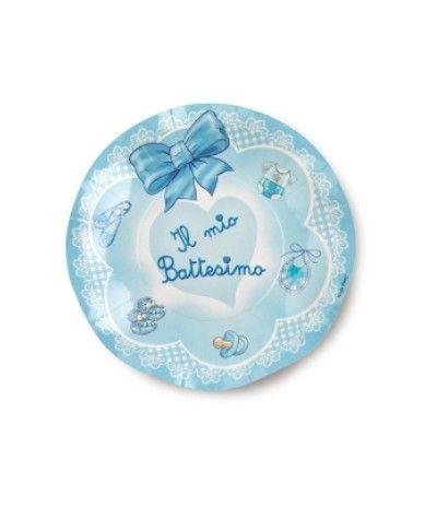 piattini il mio battesimo fiocchetto azzurro- 10 pezzi