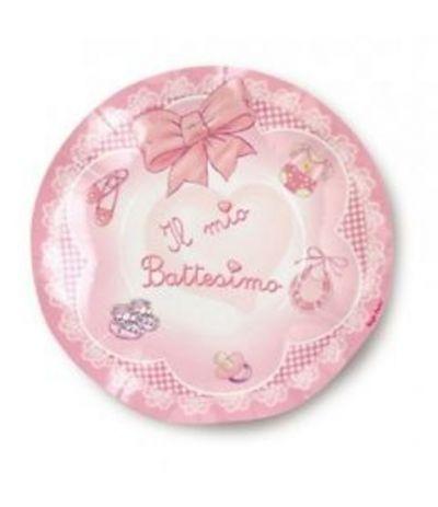 piattini il mio battesimo fiocco rosa- 10 pezzi