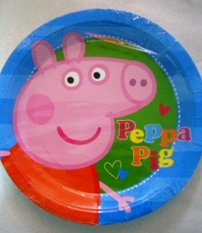 Piatti Grandi Blu Peppa Pig - 8 Pezzi