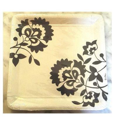 Piatti quadrati bianchi con fiori neri 24 cm- 10 pezzi