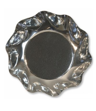 Piatti coppette cm 18.5 argento- 10 pezzi