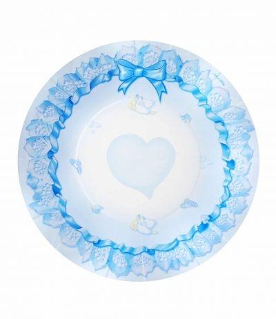 piattini benvenuto cicogna azzurri 21cm- 10 pezzi