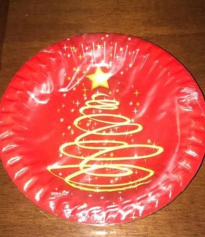 piatti rossi albero di natale cm 23- 8 pezzi