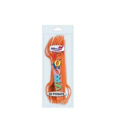 forchette dopla arancio- 20 pezzi