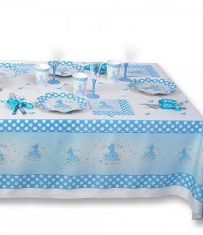 tovaglia primo compleanno azzurra pois