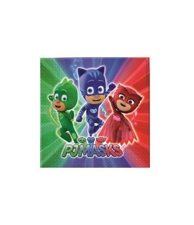 Tovaglioli Super Pigiamini Pj Masks - 20 Pezzi