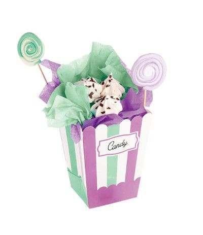 scatola per pop corn lilla e verde- 4 pezzi