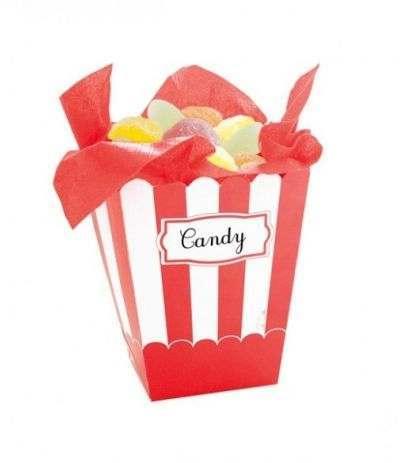 scatola per pop corn rossa-4 pezzi