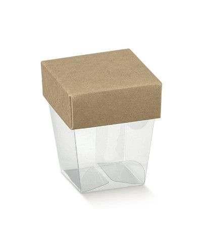 scatola trasparente coperchio marrone- 10 pezzi