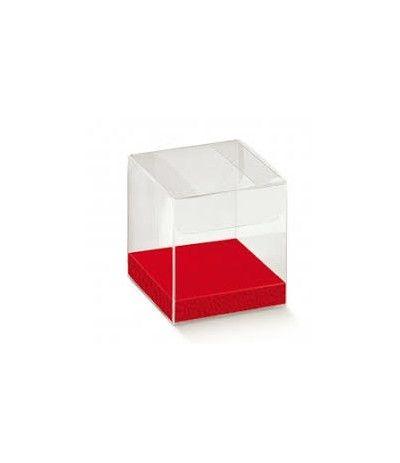23 scatole trasparenti con fondo rosso