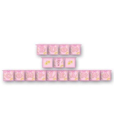 festone 1° compleanno rosa