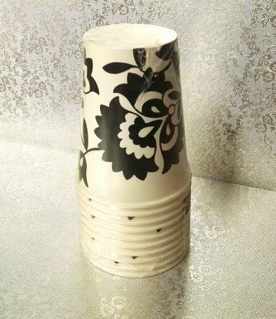 bicchieri cartone fiori neri- 10 pezzi