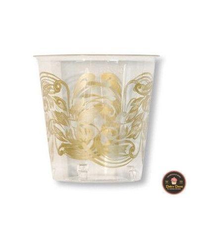 bicchieri trasparenti fiori oro- 10 pezzi