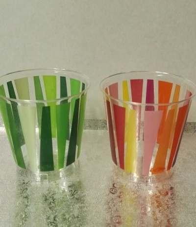 bicchieri trasparenti arancio fantasia- 10 pezzi