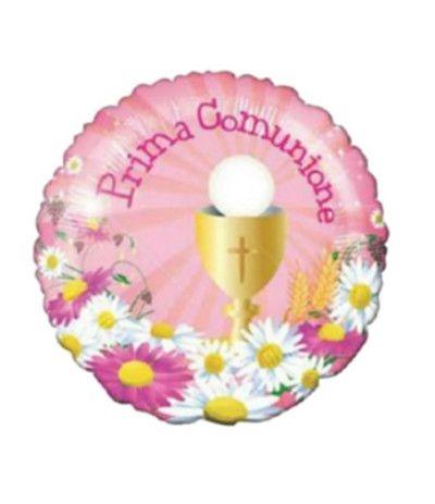 palloncino prima comunione rosa mylar