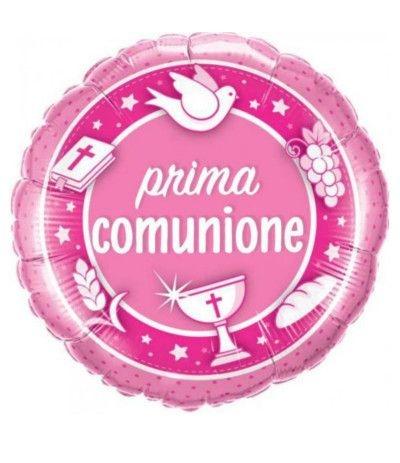 palloncino prima comunione rosa mylar qu
