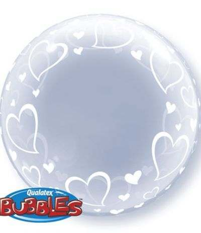Bubble cuori bianchi 24 x 61c m - Double Bubble