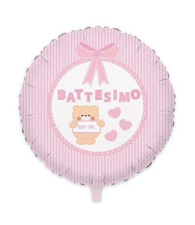 palloncino mylar battesimo rosa orsetto- 45 cm