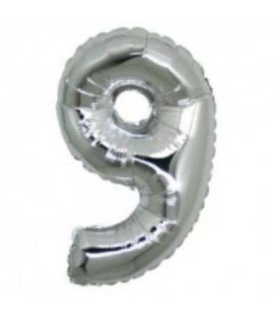 palloncino mylar n.9 argento- 35 cm