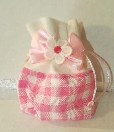 sacchettino rosa quadri con fiore