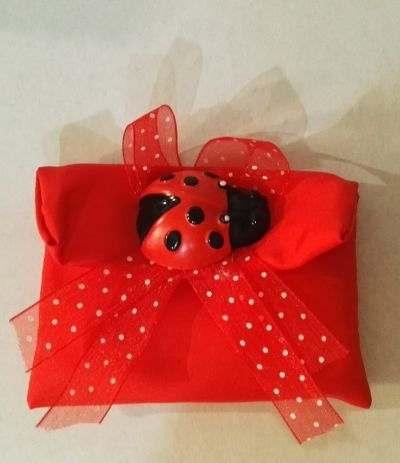 borsetta rossa con coccinella