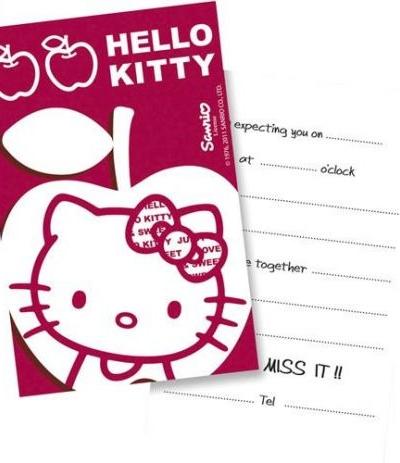 bigliettini invito hello kitty- 6 pezzi