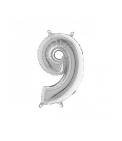 palloncino mylar argento 9- 35 cm