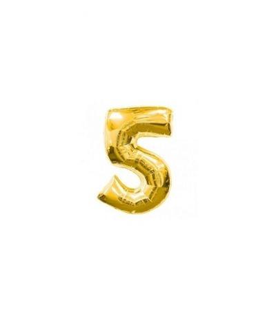 palloncino mylar numero 5 oro- 35 cm