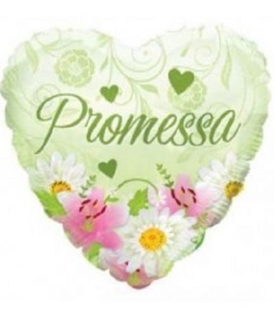 palloncino mylar promessa cuore verde- 45 cm