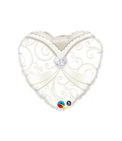 palloncino mylar cuore sposa-46 cm