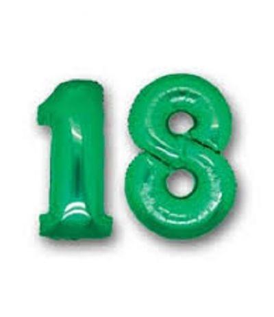 palloncino numero 18 verde- 1 mt