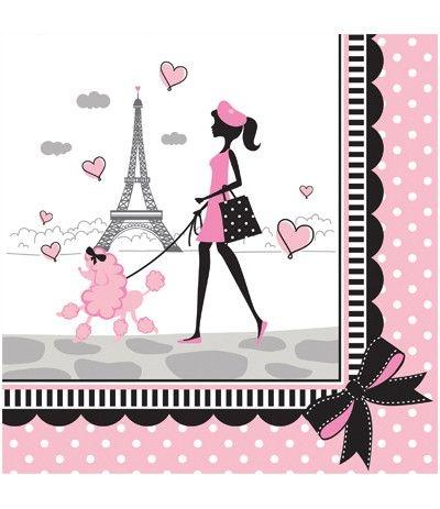 Tovaglioli Tema Parigi - 16 Pezzi