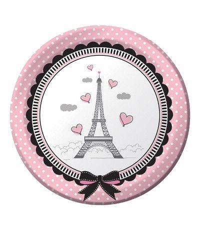 Piatti Piccoli Tema Parigi - 8 Pezzi