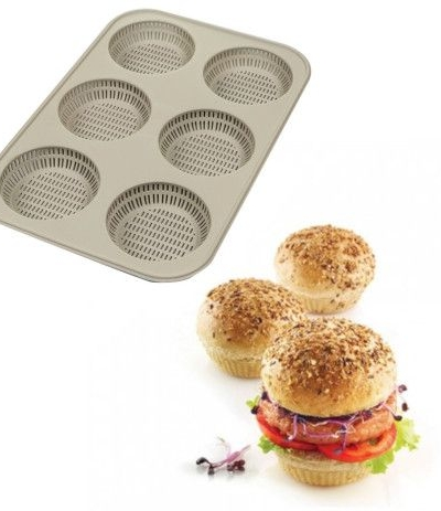 stampo in silicone burger bread- 6 x 80 h x 20 mm