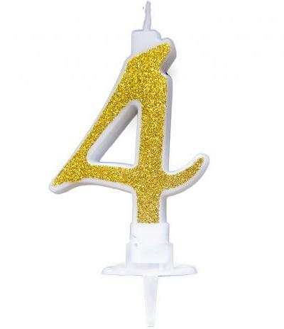 candelina glitterata oro 4- 7 cm