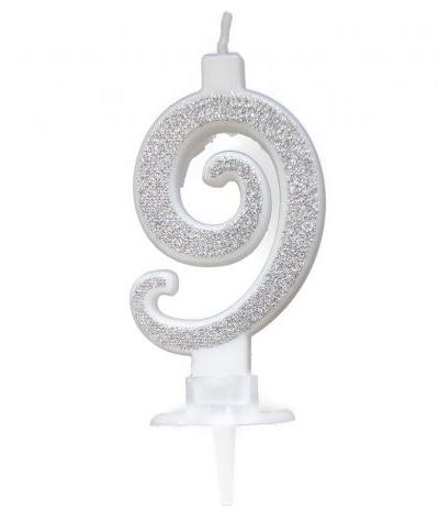 candelina glitterata argento 9- 7 cm