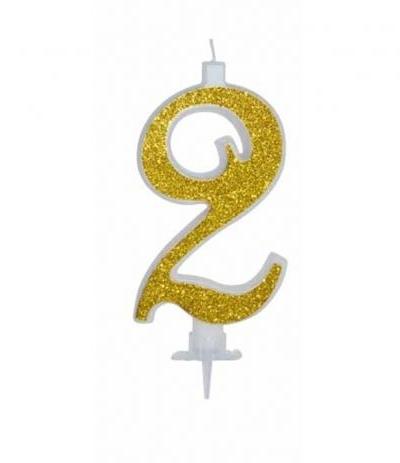 candelina glitterata oro grande 2- 11 cm