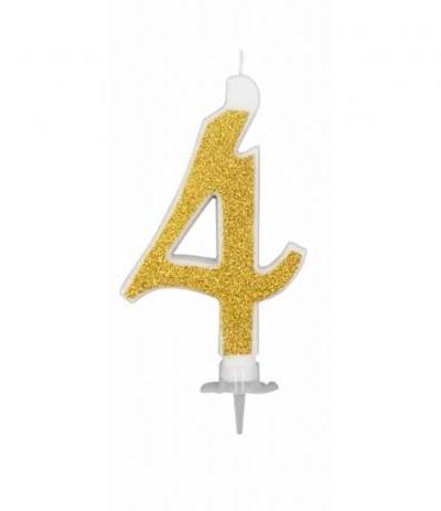 candelina glitterata oro grande 4- 11 cm