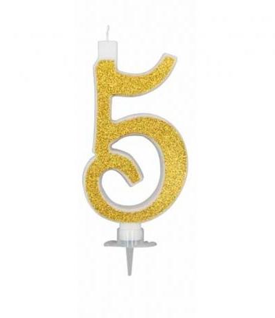 candelina glitterata oro grande 5- 11 cm