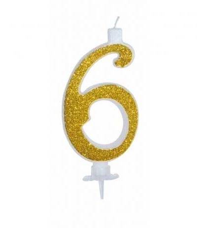candelina glitterata oro grande 6- 11 cm