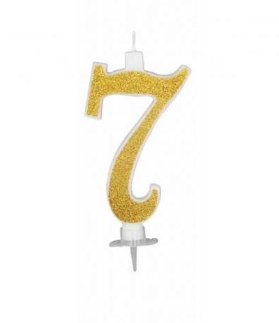 candelina glitterata oro grande 7- 11 cm