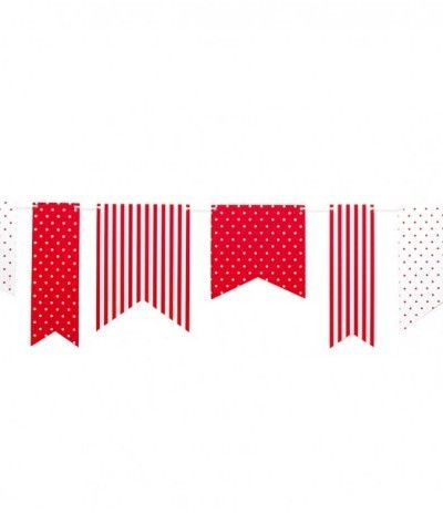 bandierine di carta pois-righe rosse- 3,6 mt