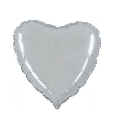palloncino cuore argento lucido- 43 cm