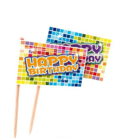 bandierine buffet happy birthday- 24 pezzi