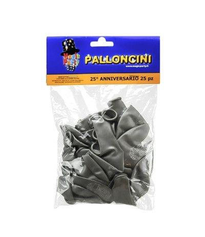 palloncini argento 25° lattice- 25 pezzi