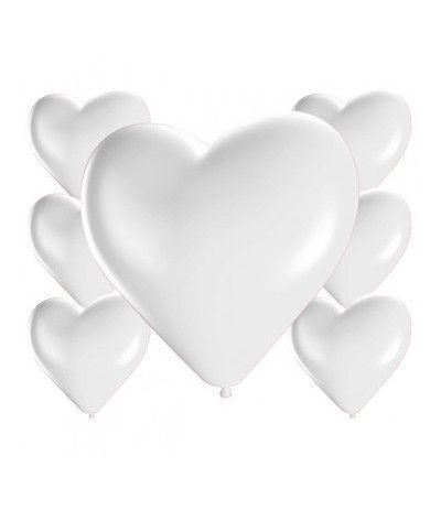 palloncini cuoricini bianchi lattice- 16 pezzi