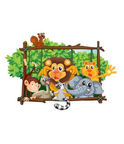 Cialda in pasta di zucchero A3- Animali della giungla- 30 x 40 cm