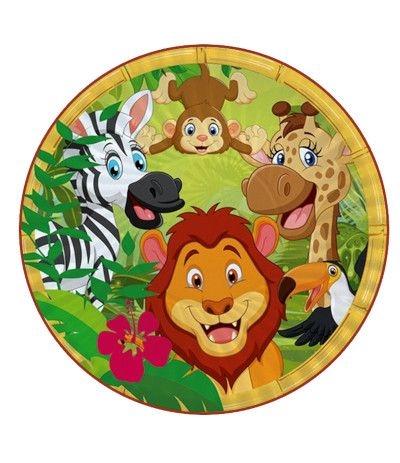 Ostia tonda A3- Animali della giungla- 30 cm