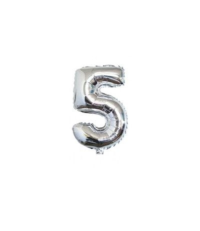 palloncino mylar cm 36 numero 5 argento